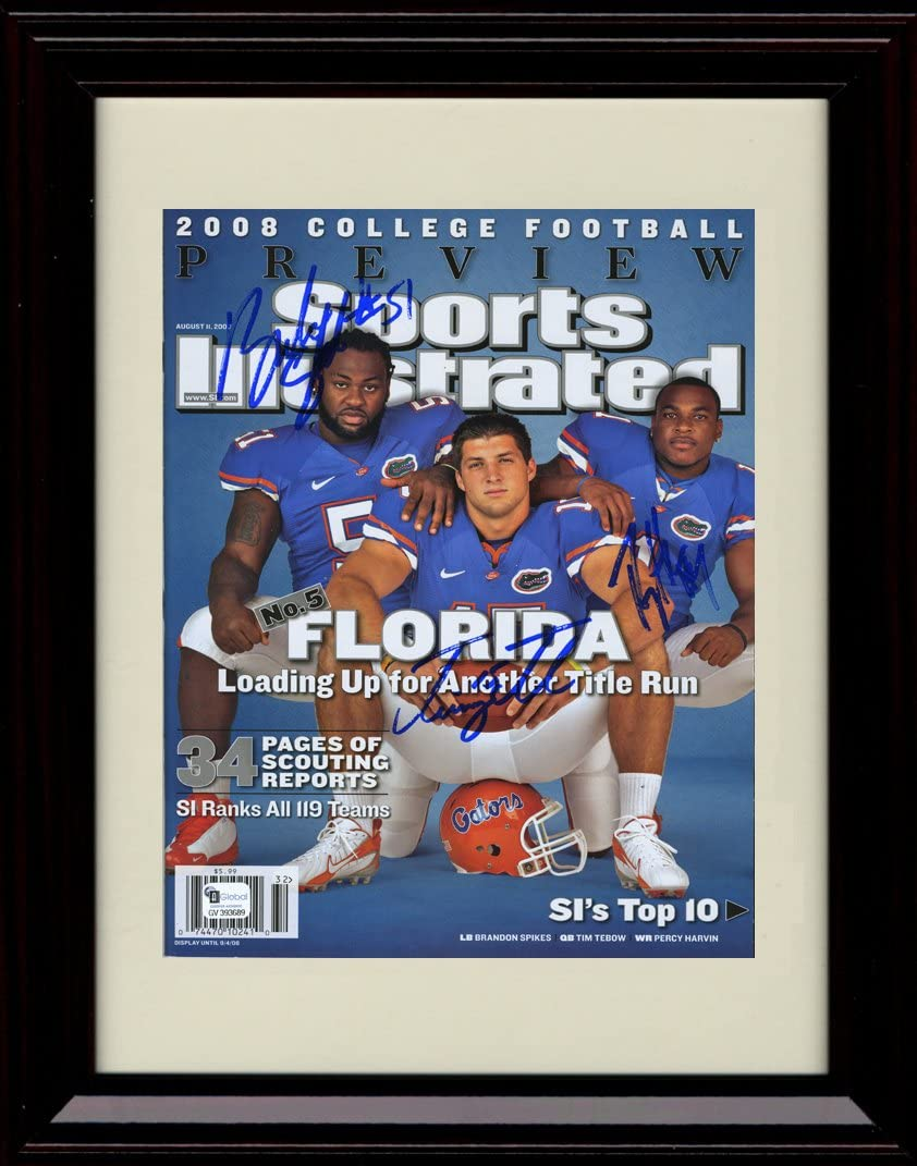 Amazon.com: Framed Tim Tebow, Percy Harvin, Brandon Spikes Sports ...