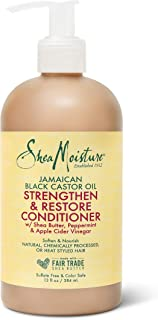 SheaMoisture Strengthen and Restore Rinse Out Hair Conditioner to Intensely Smooth and Nourish Hair 100% Pure Jamaican Black Castor Oil with Shea Butter, Peppermint and Apple Cider Vinegar 13 oz