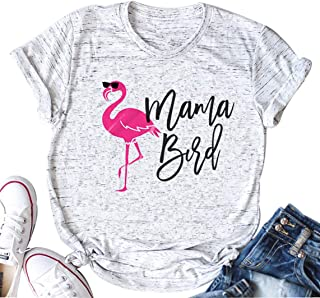 Mama Bird Letter Print T Shirt Women Flamingo Bird Funny Graphic Cute T-Shirt Tops Tee