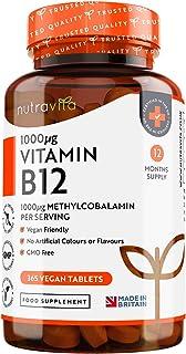 Vitamina B12 Vegana 1000mcg Alta Potencia - 365 Comprimidos Vegana (Suministro de 12 Meses) - Con...