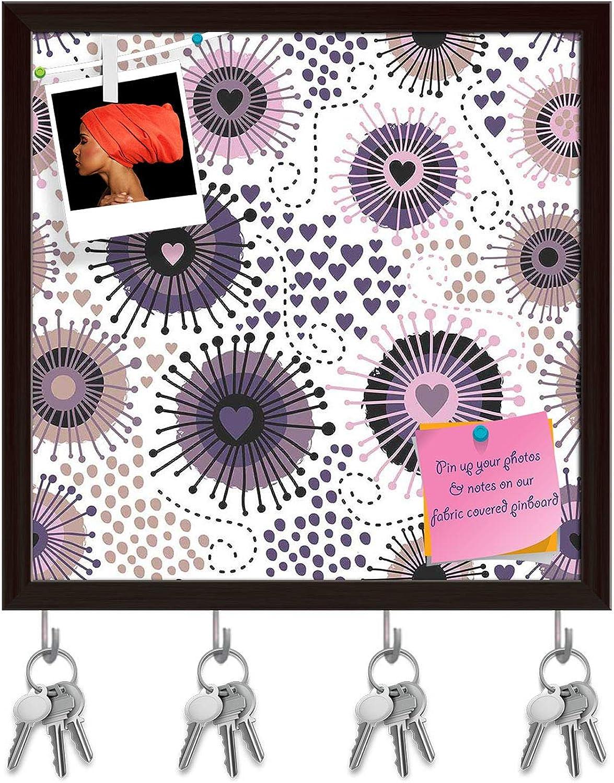 Artzfolio Circle & Hearts Key Holder Hooks   Notice Pin Board   Dark Brown Frame 20 X 20Inch