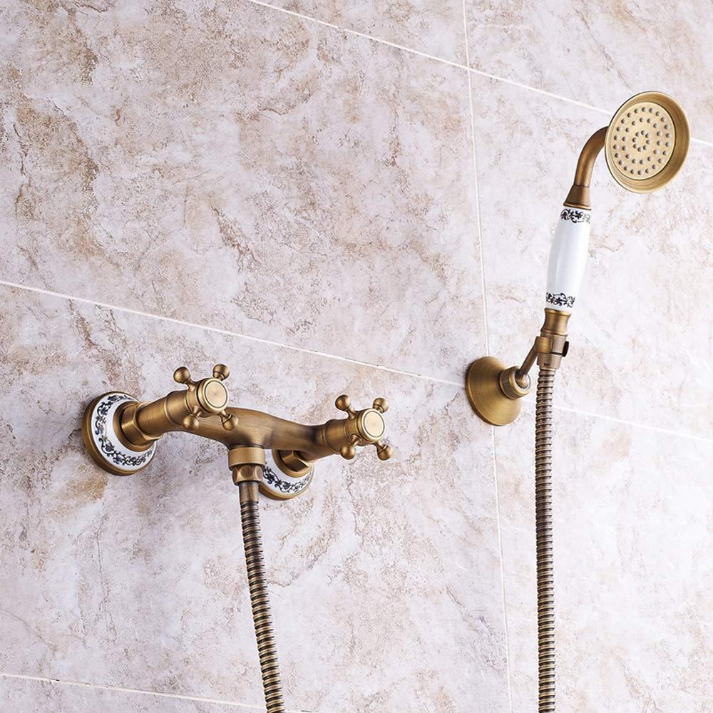 伝説透けて見えるコミットメントZGQA-GQA 蛇口固定シャワーヘッドを備えたヨーロッパのアンティークシャワーブロンズ浴室のシャワーセットの銅ホットとコールドスーパーチャージハンドシャワーシステムセラミックレトロな2機能