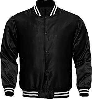 Men's Varsity Jacket Satin Polyester Vintage Biker Retro Zip Casual Jackets Top Coat
