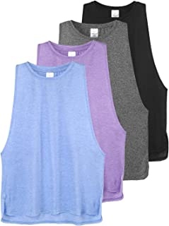 Cosy Pyro Workout Tank Tops for Women Lightweight Running Tanks Basic Sleeveless Yoga Shirts-4 Pack