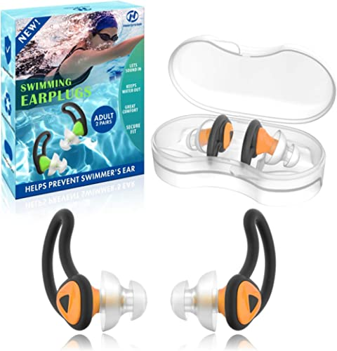2 Pairs Swimmer Ear Plugs, Hearprotek Upgraded Custom-fit Water Protection Adult Swimming earplugs for Swimmers Water...