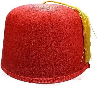 Felt Red Fez Hat Gold Tassel Shriner Turkish Casablanca Moroccan Cap Adult Costume