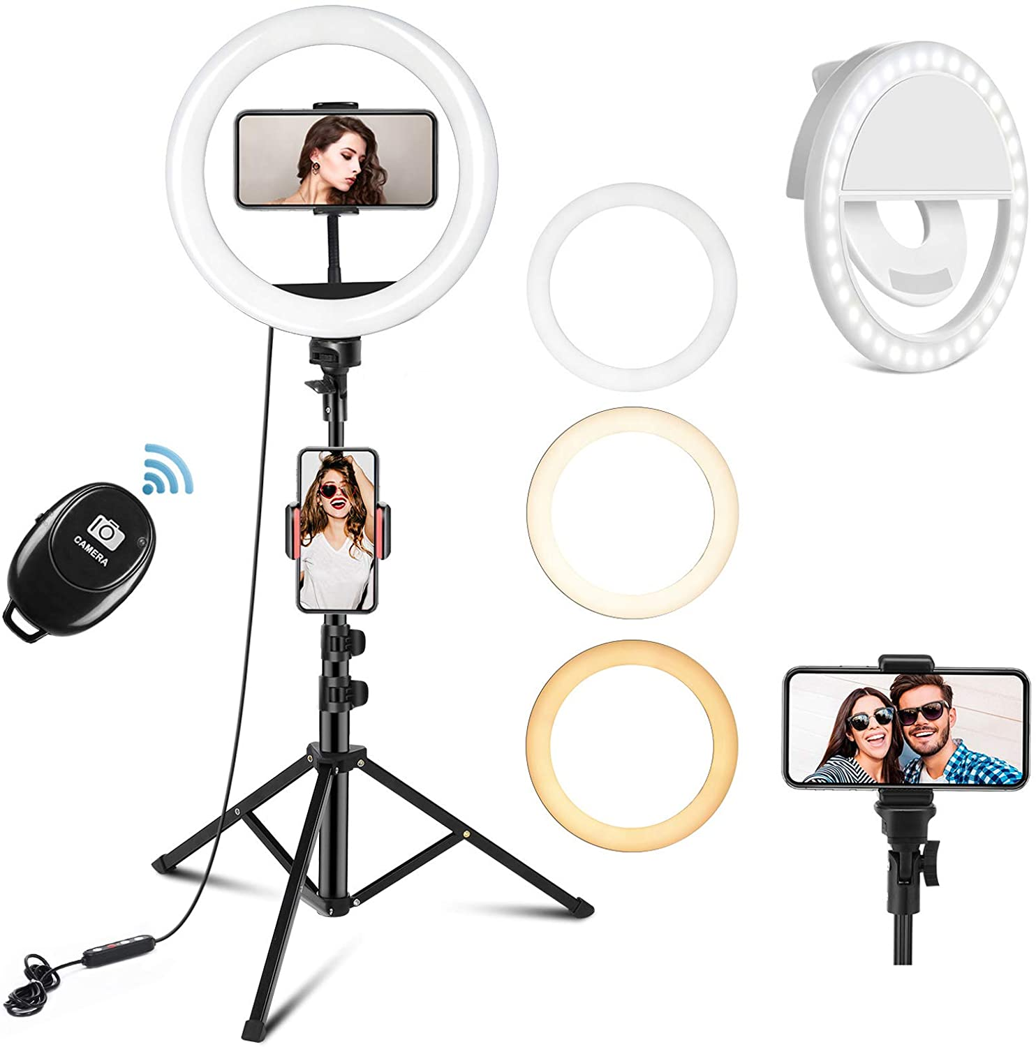 PEHESHE Selfie Ring Light and Tripod Stand with Phone Holder for Live Stream