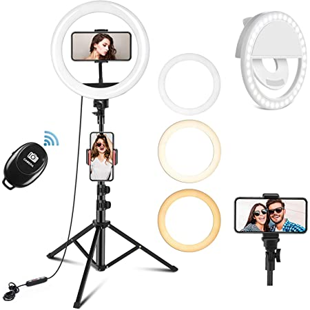 """PEHESHE 10"""" Selfie Ring Light with 63"""" Tripod Stand Ring LED Light with Phone Holder Ring Dimmable Circle Light for Live Stream/YouTube/Video/Makeup/Photography"""