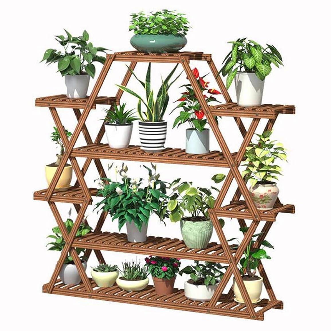 リスナー式所持多層盆栽ラックバルコニーフラワーポットラックリビングルームベッドルームフラワーポットラック木製床植物ディスプレイフラワースタンド
