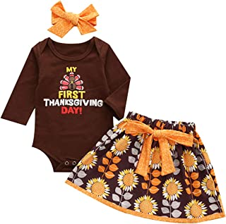Newborn Baby Girl My First Thanksgiving Outfits Turkey Romper Bodysuit + Daisy Dress + Headband 3Pcs Clothes Set