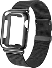 GZ GZHISY Compatible for Apple Watch Band 44mm with Screen Protector Case, Stainless Steel Mesh Sport Wristband Loop Band with Protective Case for iWatch Series 1/2 / 3/4 / 5, Black