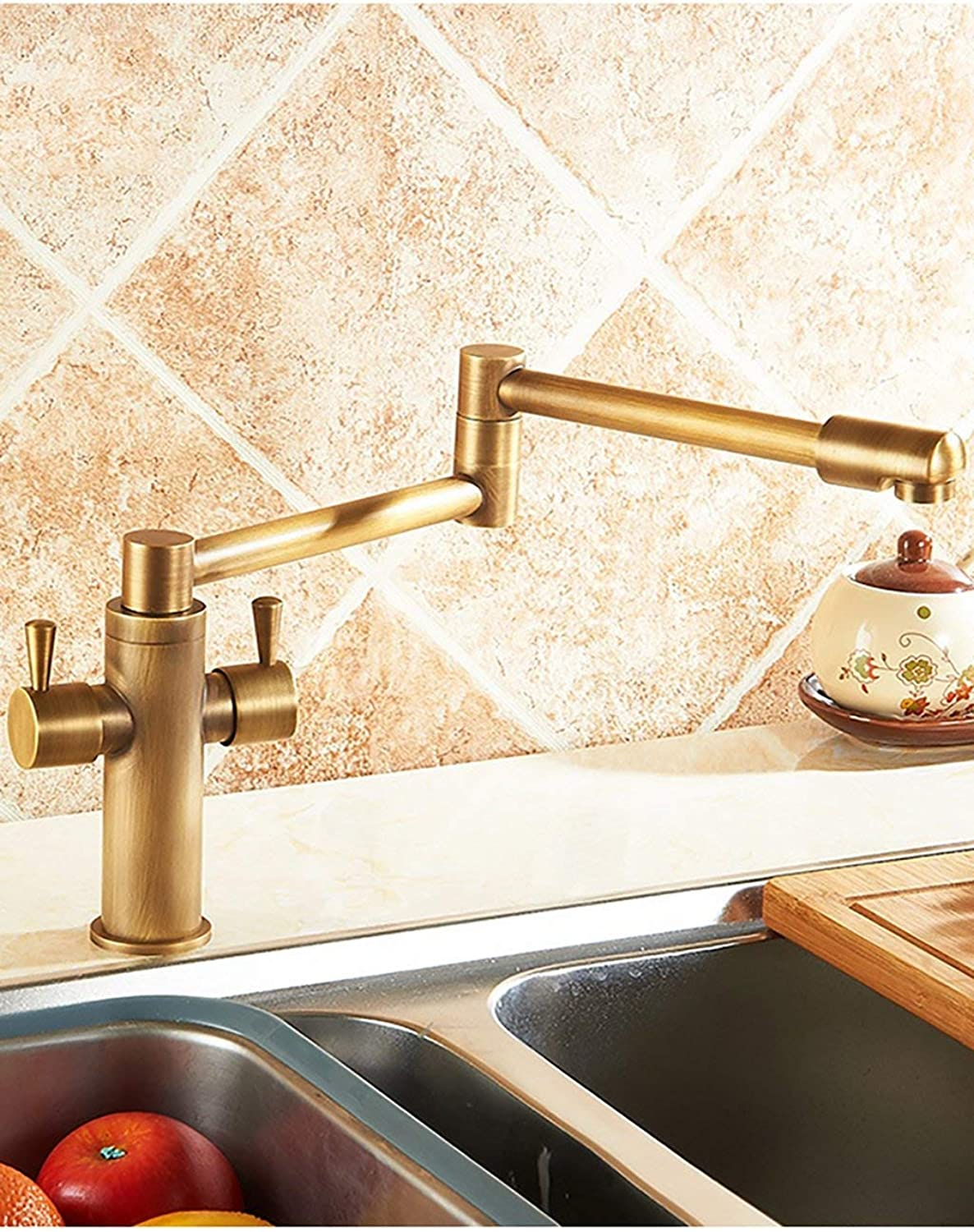 DYR Faucet European Style Retro Household Kitchen Faucet Copper Hei? And Cold Foldable Can Be Turned Single Head Mixing Bowl