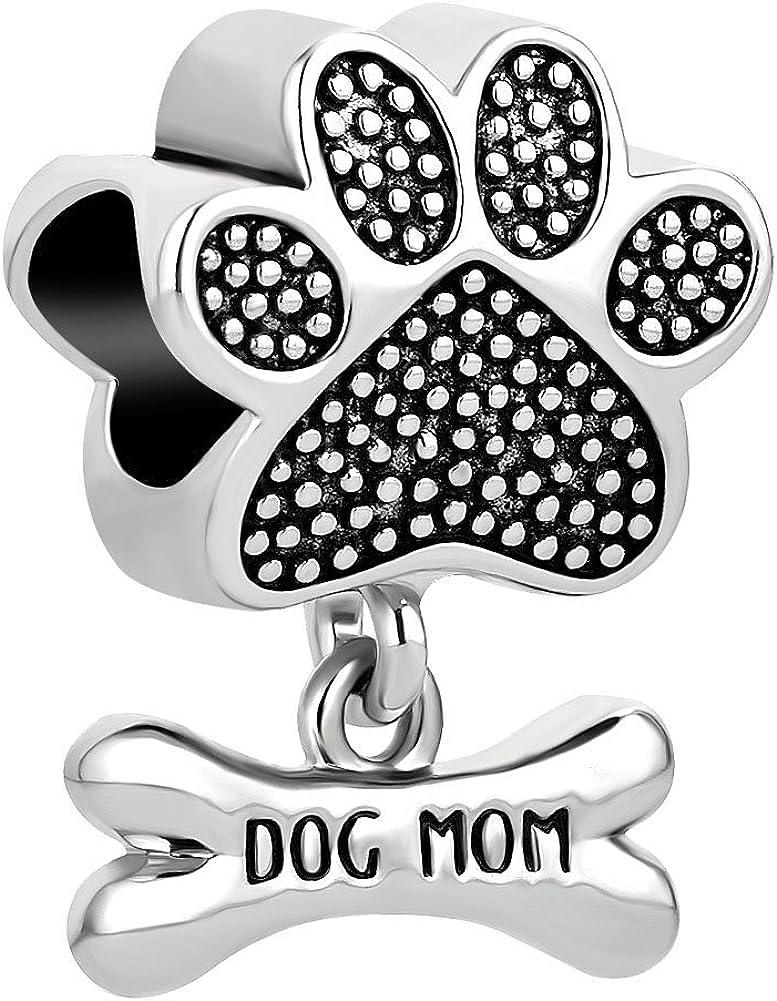 ReisJewelry Love Dog Mom Charms Pet Animal Bone Print 40% OFF Cheap Sale Charm Paw Now on sale