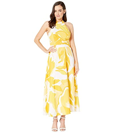 Tahari by ASL Sunburst Charmeuse Floral Maxi Halter Dress (Sunburst Swirl) Women