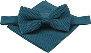Mens Plain Knitted Bowtie and Pocket Square Set-Various Color