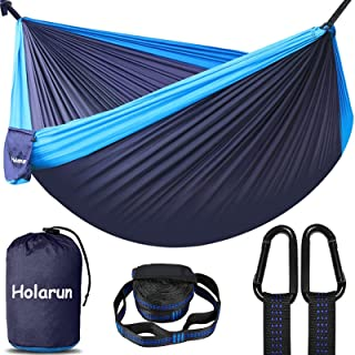 Holarun Hammock, Double Camping Hammock for 2 Adult Lightweight Parachute Hammock with Tree Straps (8+1 Loops)& Carabiner...