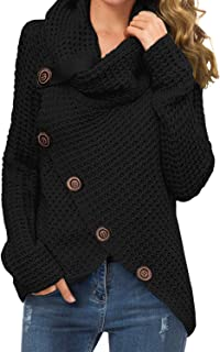 GRECERELLE Women`s Casual Turtle Cowl Neck Asymmetric Hem Wrap Pullover Chunky Button Knit Sweater