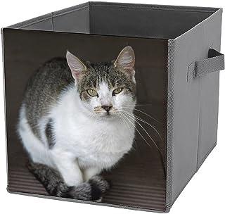Cubes de rangement pliables en toile avec motif de chat tigré - Grande capacité - Panier de rangement pliable et panier à ...