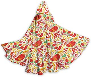 Adult Hooded Halloween Cloak Costumes Party Cape,Traditional Russian Folk Pattern Hohloma with Birds and Strawberry