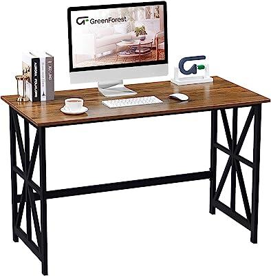 GreenForest Writing Computer Desk 47 '' Heavy Duty Study Writing Desk Workstation for Home Office, Walnut