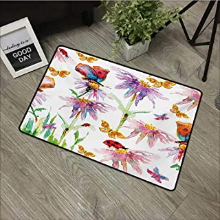 Outdoor Door mat W19 x L31 INCH Shabby Chic,Watercolor Hand Painting Image of Flowers Buds Leaves Butterfly Ladybug Art,Multicolor Non-Slip Door Mat Carpet