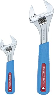 Channellock WS-2CB 2 Piece Adjustable Wrench Set | 6-inch & 10-Inch Wrench | Precise Jaw Design Grips in Tight Spaces | Measurement Scales for Easy Sizing of Diameters | CODE BLUE Grips