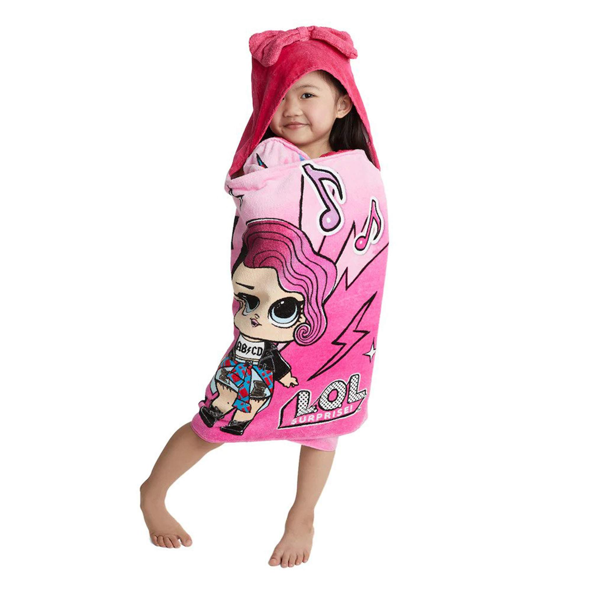 "L.O.L. 서프라이즈 후드 타올 L.O.L. Surprise! Soft Cotton Hooded Bath Towel Wrap 24"" x 50"" Pink"