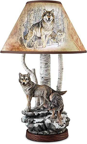 Al Agnew Spirit Of The Forest Wolf Art Table Lamp By The Bradford Exchange