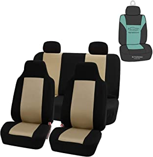 FH Group FB102114 Full Set Classic Cloth Car Seat Covers w Gift, Beige/Black- Fit Most Car, Truck, SUV, or Van