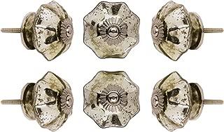 Set of 6 Cabinet Knobs Glass Melon Handmade Drawer Pull Diameter 1.6