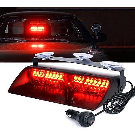 Red White LED visor Strobe Fire Light Bar Warning  Deck Dash Car Flash