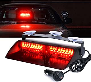 High Intensity LED Windshield Emergency Hazard Warning Strobe Lights - Red