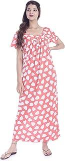 Indian Handicraft Nightwear Long Gown Nighty Dress Flower Print Sleepwear Gown Nighty Size - Free Size Peach