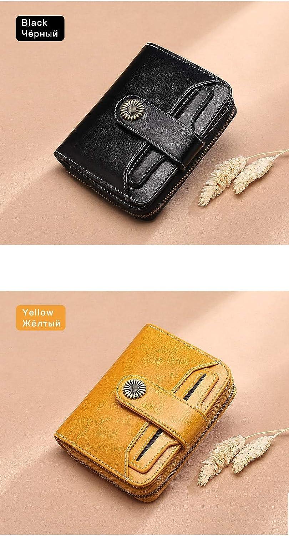 (Black) Wallet Female Women Wallet Short Wallet Quality Coin Purse Women Button Purse Quality Flower Hardware