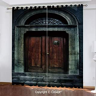 CoSept Solid Polyester Window Curtain,Photo of Antique Aged Wooden Door of a Dark Haunted Old House Gothic Style Night Theme,for Bedroom (2 Panels,51.96x84.64 Inch),Grey Brown