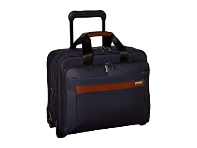 Briggs & Riley Kinzie Street Medium Expandable Rolling Brief (Navy) Carry on Luggage