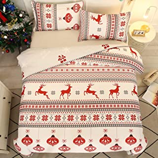 ADASMILE A & S Christmas Deer Duvet Cover Twin Red Lantern Animal Deer Pattern Bedding Sets for Kids Girls Boys Room 2Pcs ...