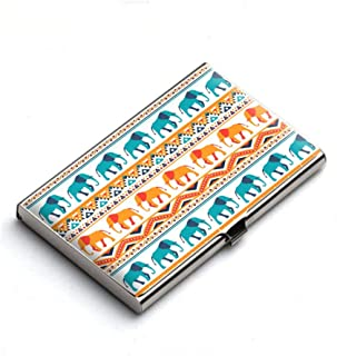 Heartzy Imperial Elephant March Seamless Design Metal Card Holder (Multicolour)