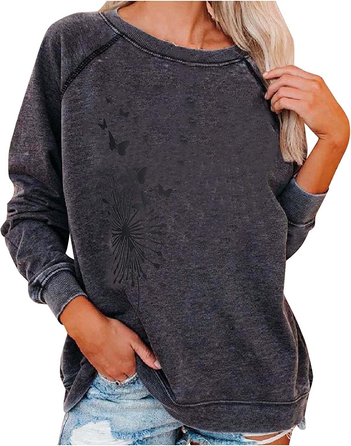 Cristophes Womens Fashion Solid Limited price Color SweaterLong O Omaha Mall Sleeve Print