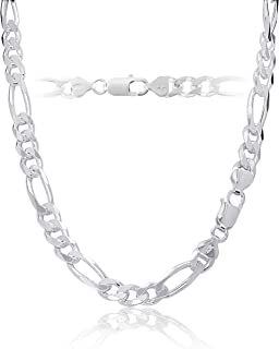 KEZEF Mens Sterling Silver 925 Italian Figaro Link Chain Necklace or Bracelet 7.5mm