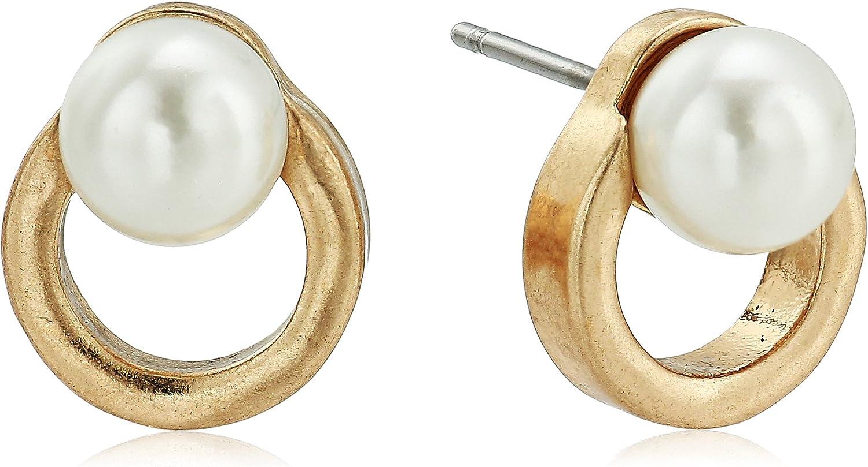 The SAK Women's Pearl Circle Stud Earrings, Gold, One Size