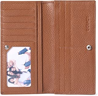 Wallets for Women RFID Blocking Ultra Slim Real Leather Credit Card Holder Clutch by GOIACII (Brown)