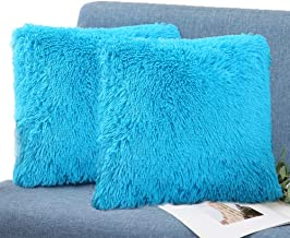 SatisInside Set of 2 - Extra Soft Fuzzy Faux Fur Home Square Decorative Throw Pillow Cover Cushion Cover Bed Pillow Case for Bedroom Couch (16X16), Sky Blue
