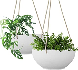 LA JOLIE MUSE White Hanging Planter Basket - 8 Inch Indoor Outdoor Flower Pots, Plant Containers with Drainage Hole, Plant...
