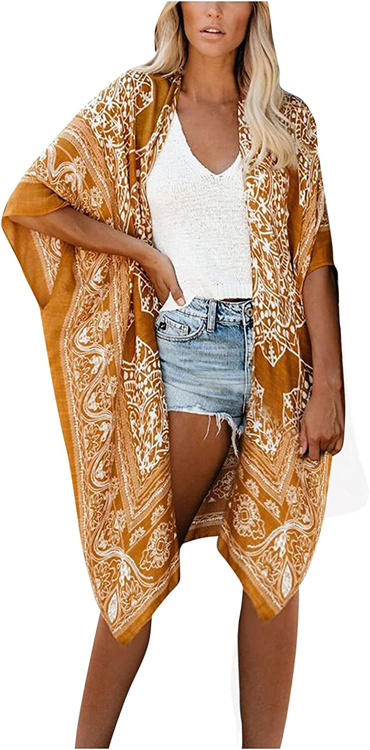 Women's Floral Print Sheer Chiffon Loose Kimono Cardigan Capes Swimsuit Beach Cover Up Shirt