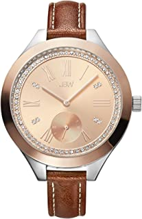 JBW Luxury Women's Aria 8 Diamonds Sub Second Brown Leather Watch