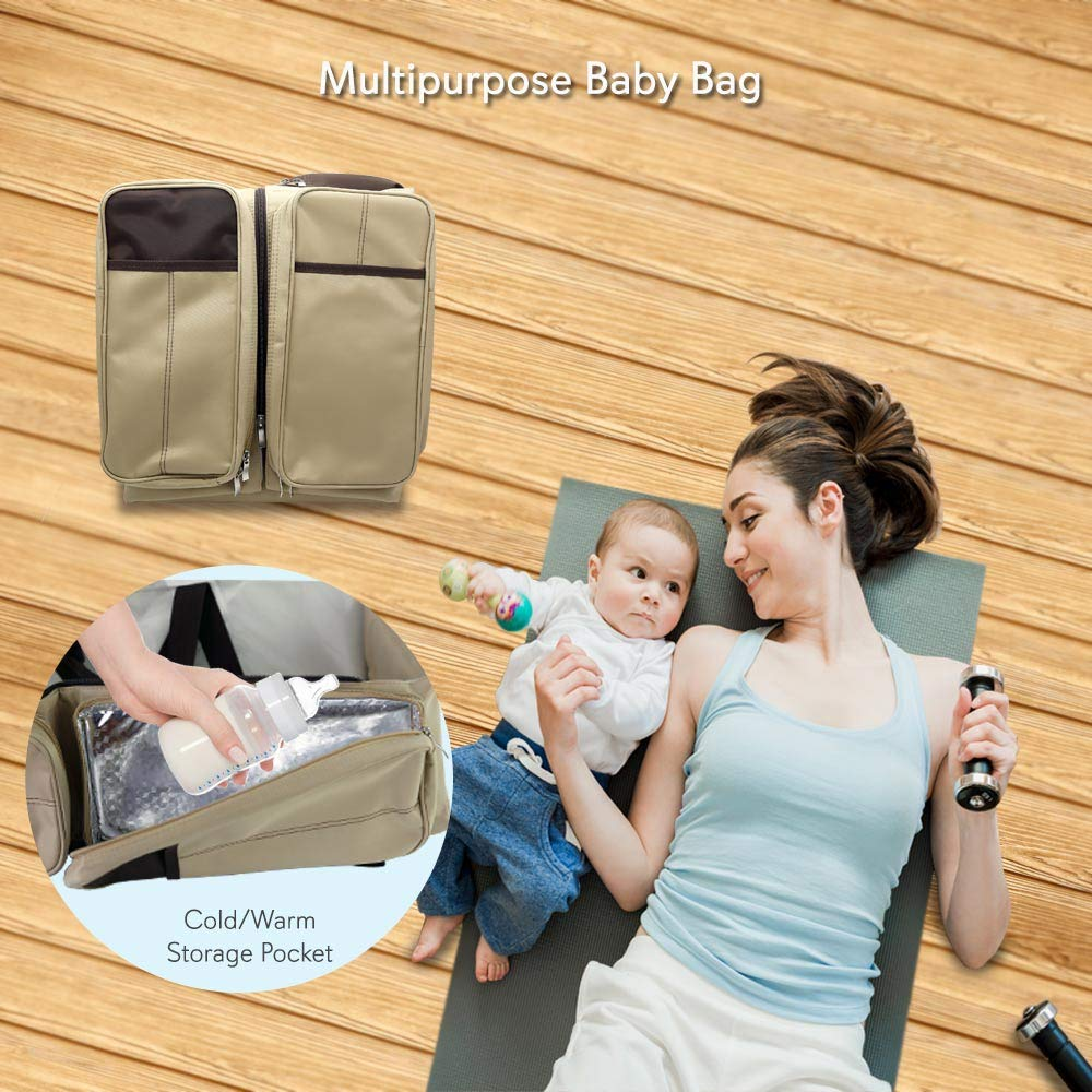 Scuddles 3 in 1 Travel Infant Bed Baby Diaper Bag & Baby Changing Pad Portable Systems | Infant Sleeping Bag | Travel Bed, Easy Carry Design Portable for Girls & Boys Travel Accessory (SC-FDB-01)