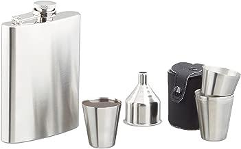 Flachmann Set aus Edelstahl u f/ür unterwegs relaxdays 8 TLG Taschenflaschen 200ml mit Bechern und Trichter Silber Kunstleder