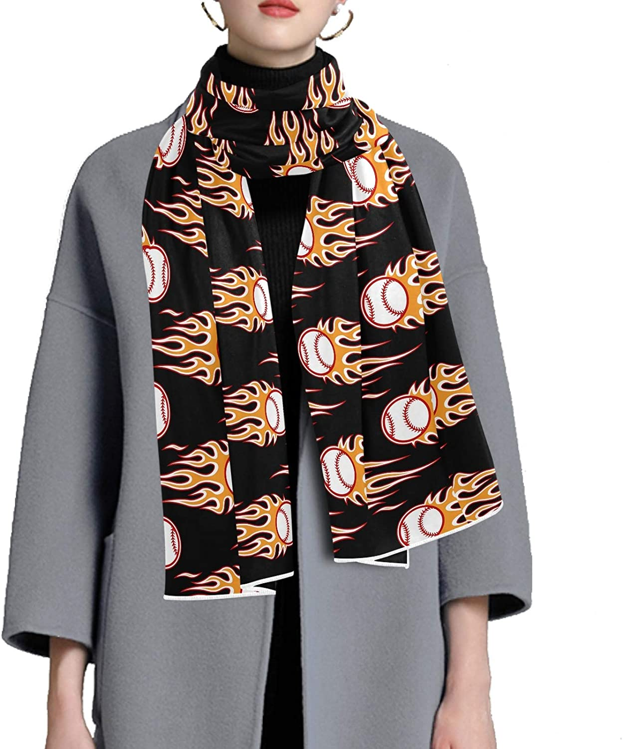 Scarf for Women and Men Baseball Softball Balls Fire Blanket Shawl Scarf wraps Thick Soft Winter Large Scarves Lightweight