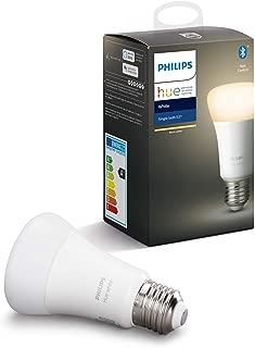 Philips Hue White bombilla LED inteligente E27, luz blanca cálida, compatible con Bluetooth y Zigbee (Puente Hue opcional), funciona con Alexa y Google Home